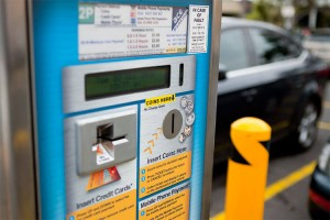 Ace Parking Pay and Display Ticket Machine paying by credit card